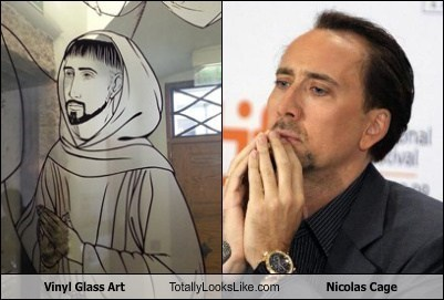 Nicolas Cage Totally Looks Like Vinyl Glass Art