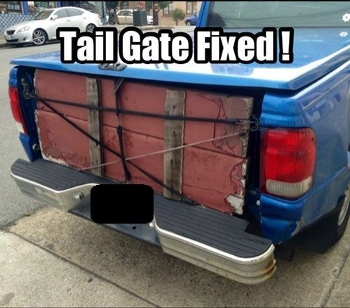 tailgate,pickup truck,funny,there I fixed it
