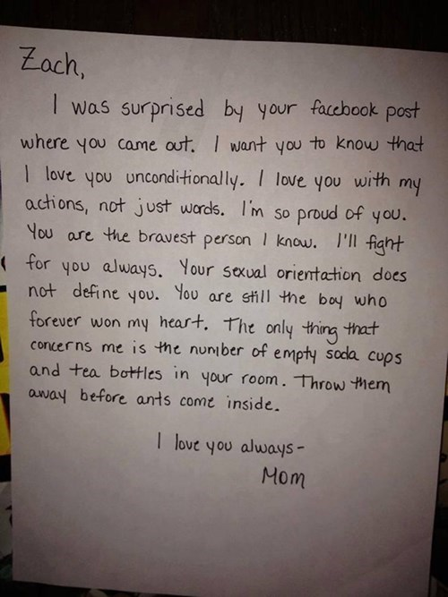 A Young Man Comes Out on Facebook and His Mom Has the Best Reaction