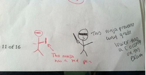 ninja,red,black box,teacher,funny