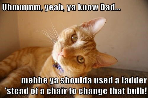 Uhmmmm, yeah, ya know Dad...  mebbe ya shoulda used a ladder 'stead of a chair to change that bulb!