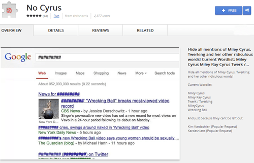 "Browser Extension of the Day: Block All Mentions of Miley Cyrus with ""No Cyrus"""