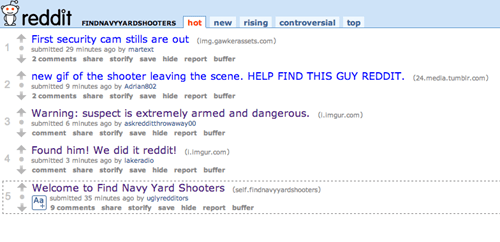 Crowdsourcing Project of the Day: Redditors Launch a Short-Lived Manhunt for The D.C. Navy Yard Shooter