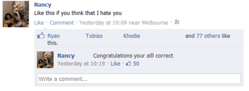lms,like my status,i hate you