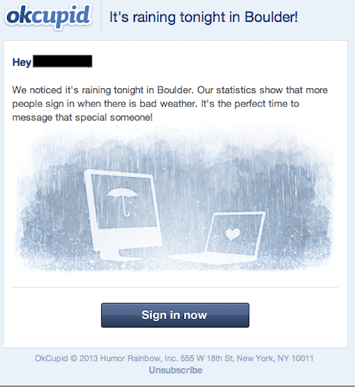 OKCupid Tries to Turn the Colorado Floods Into a Dating Opportunity