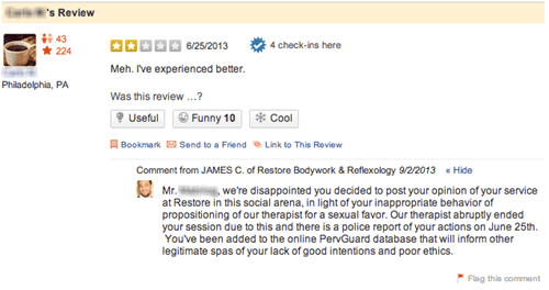 Guy Posts Negative Review of a Spa on Yelp, Spa Owner Shoots Right Back