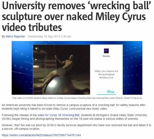 news,art,miley cyrus,Probably bad News,wrecking ball,funny