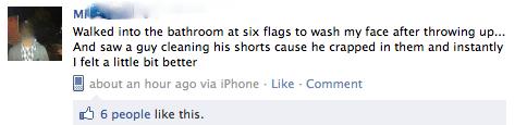 bathrooms,vomit,puking,six flag