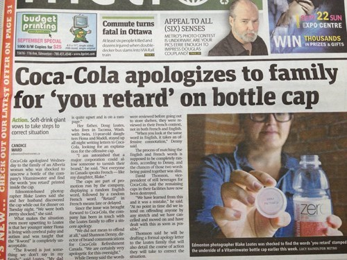You're a Real Class Act, Coca-Cola...