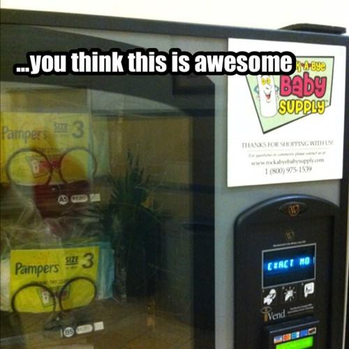 Babies,vending machines,diapers,parenting,funny