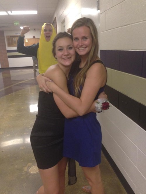 banana suit,photobomb,funny,homecoming