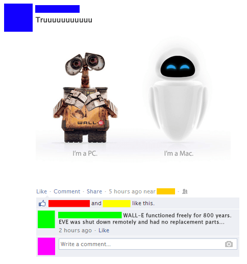 i'm a mac,i'm a pc,wall.e,pixar,burn,failbook,g rated