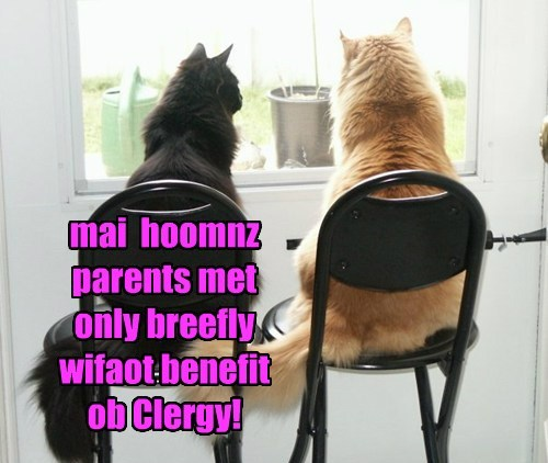 mai  hoomnz parents met  only breefly wifaot benefit ob Clergy!