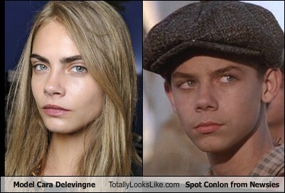 spot conlon,newsies,totally looks like,cara delevingne,funny