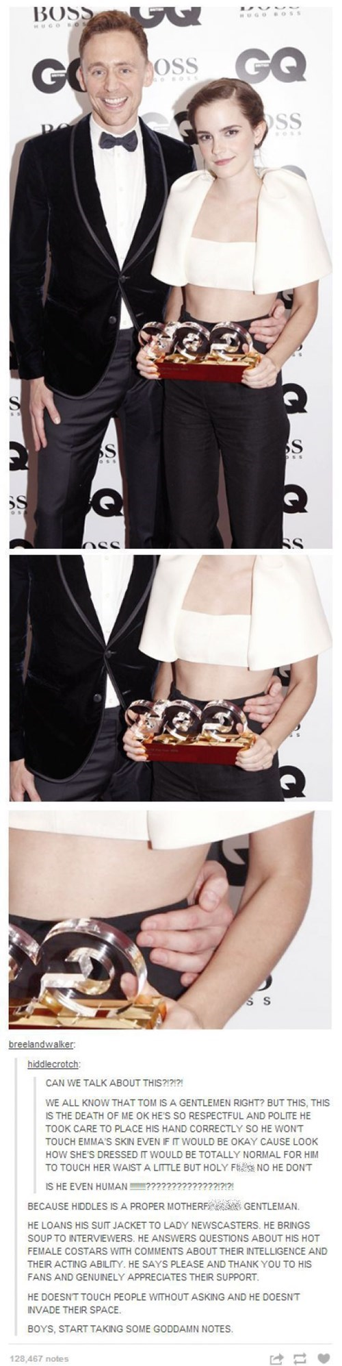 Let it Never be Said that Hiddleston Isn't a Perfect Gentleman