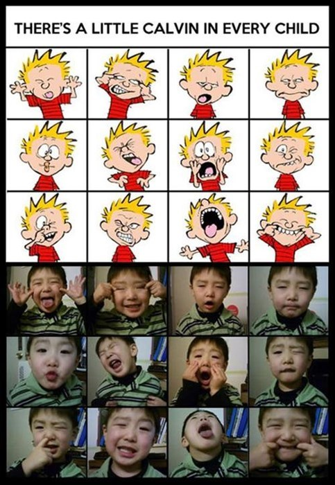 calvin and hobbes,kids,making faces,parenting,facial expressions,g rated