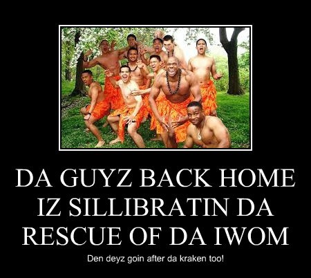 DA GUYZ BACK HOME IZ SILLIBRATIN DA RESCUE OF DA IWOM