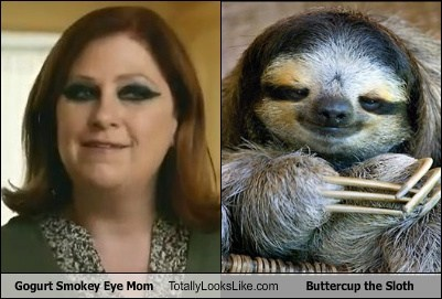 gogurt smokey eye mom,buttercup,totally looks like,sloths,funny