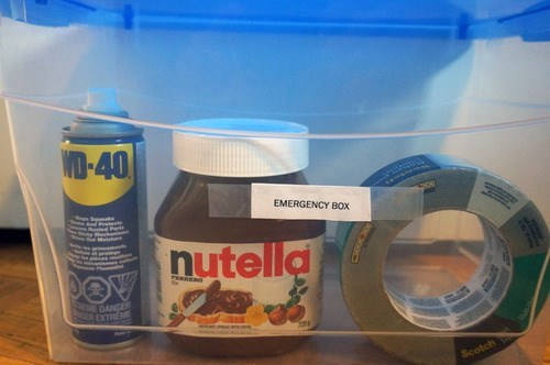 WD-40,emergency kit,nutella,duct tape,there I fixed it,g rated