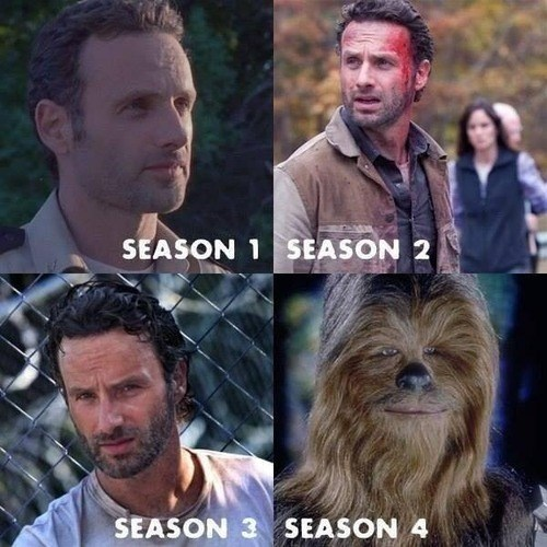 Rick Grimes,shave,chewbacca,The Walking Dead