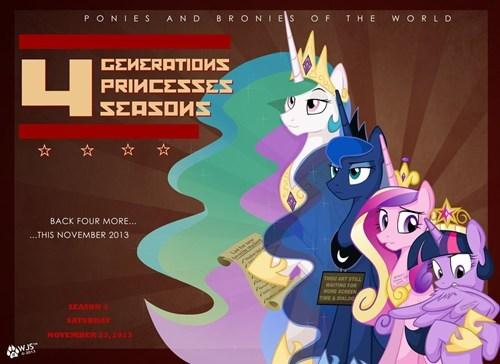 twilight sparkle,cadence,season 4,celestia,luna,princesses
