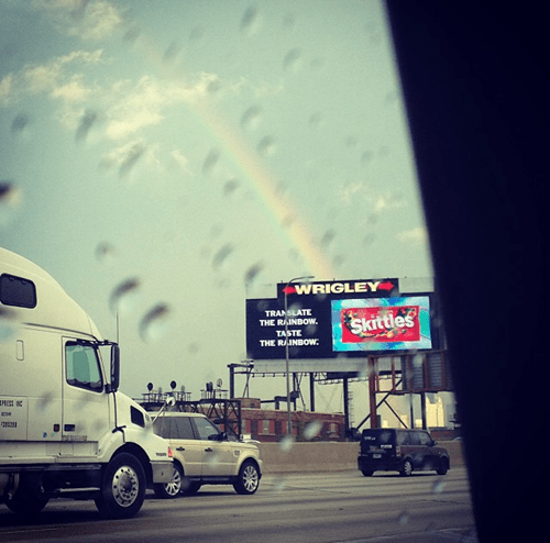 sign,advertisement,timing,photography,skittles,perspective,funny