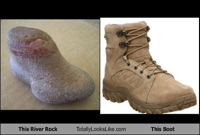 rocks,boots,river rocks,totally looks like,funny