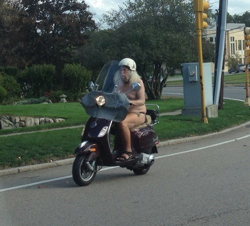 au naturale,driving,scooter,funny,fail nation