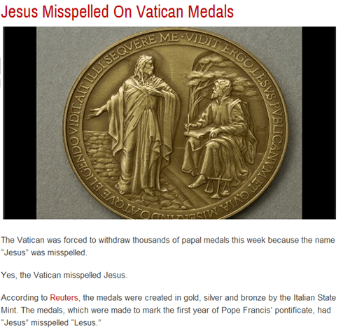 "Somehow the Vatican Managed to Misspell ""Jesus"" on Their Medals"