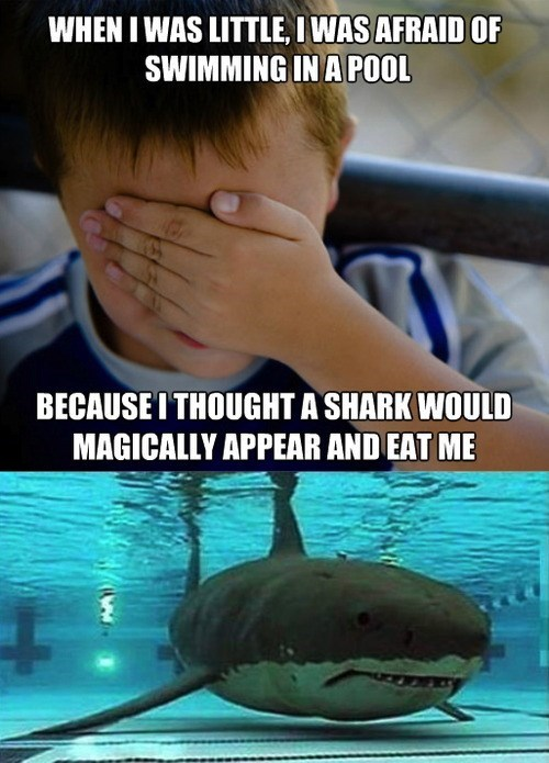 confession kid,swimming,sharks,Memes