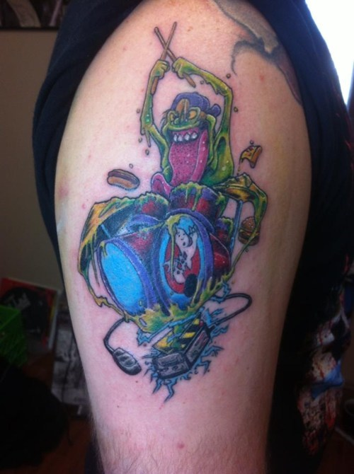 drumming,ghost busters,tattoos,slimer,funny,g rated,Ugliest Tattoos