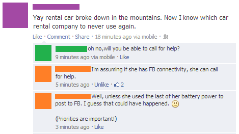 Maybe roadside assistance has a Facebook page...