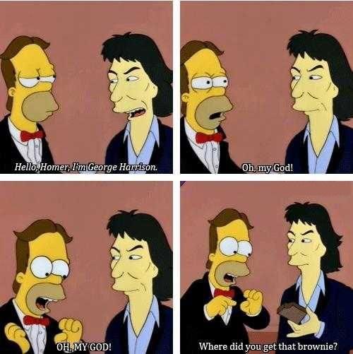 the Beatles,brownies,the simpsons,george harrison