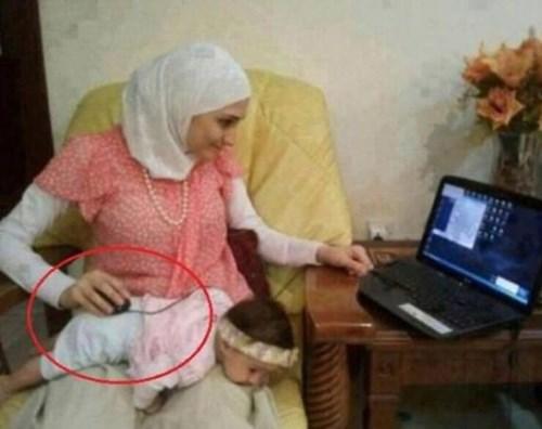 Babies,Multitasking,parenting,mousepad