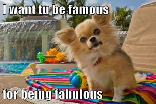 I want tu be famous  for being fabulous