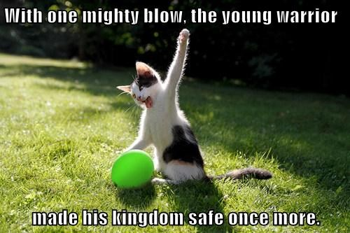 With one mighty blow, the young warrior  made his kingdom safe once more.