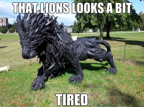 one liner,lions,statue,tires,rubber