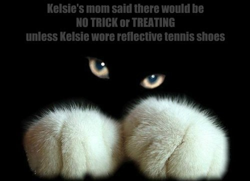 Kelsie's mom said there would be  NO TRICK or TREATING  unless Kelsie wore reflective tennis shoes