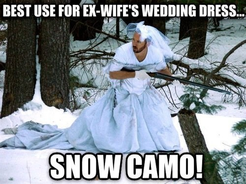 marriage,wedding,wedding dress,camouflage,hunting,g rated,dating