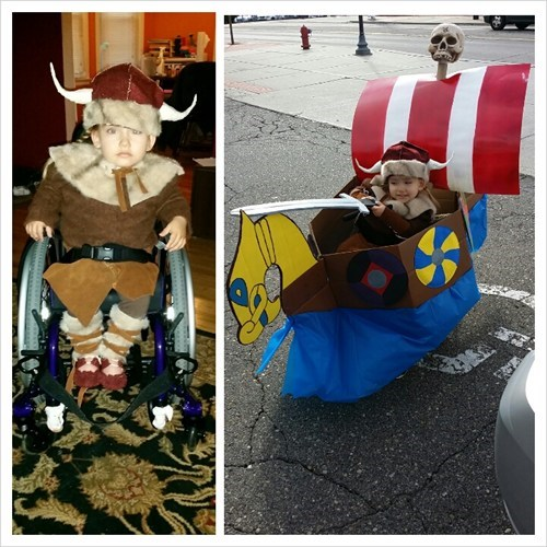 Wheelchair Viking Halloween costume