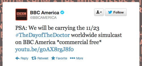 Day of the Doctor is Commercial Free!