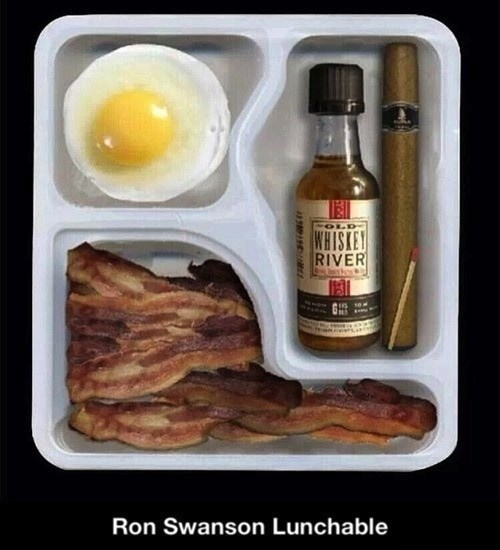 lunchables,ron swanson,bacon