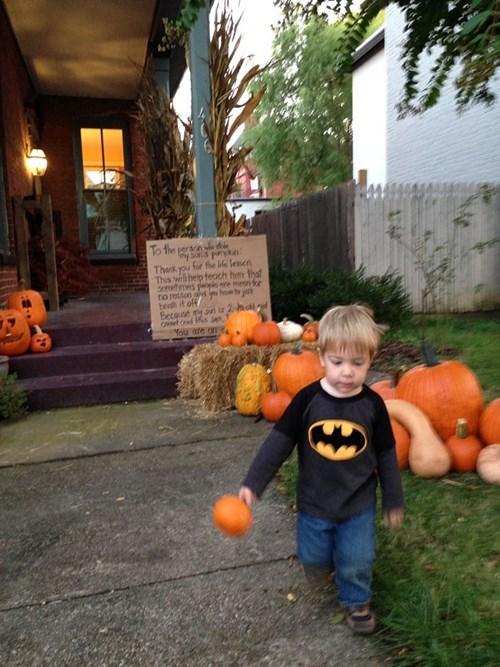 After a Toddler's Pumpkin Gets Kidnapped, the Neighborhood Picks Up the Slack