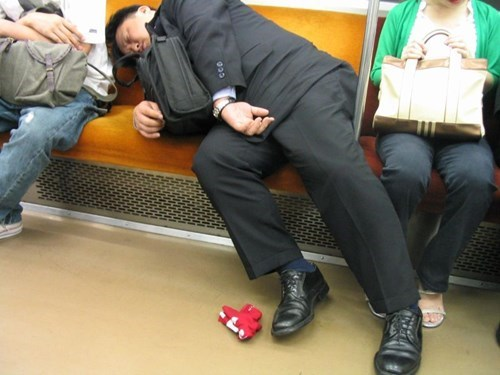 Business Drunk on the Subway