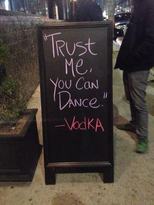 witty,vodka,bar sign,dance