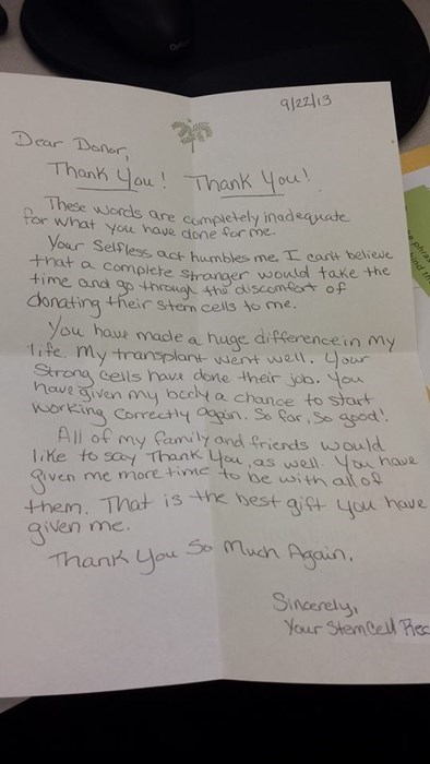 A Heartwarming Letter to a Bone Marrow Donator