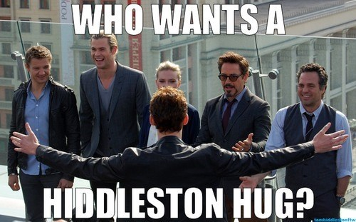 tom hiddleston,group hug,avengers