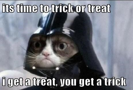 its time to trick or treat  i get a treat, you get a trick