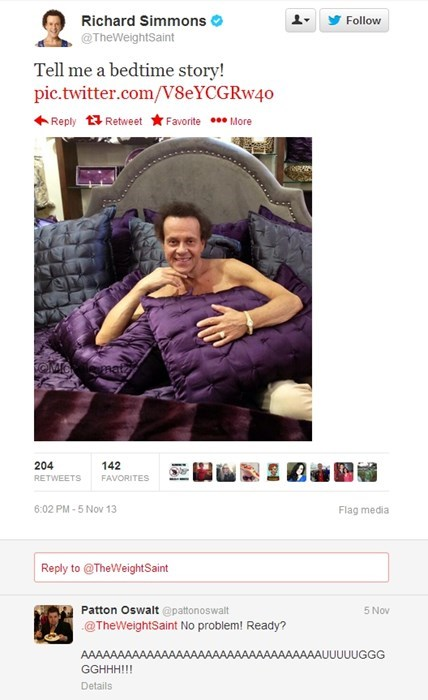 Richard Simmons Takes Perhaps the Most Horrifying Twitter Picture Ever, Patton Oswalt Responds Appropriately