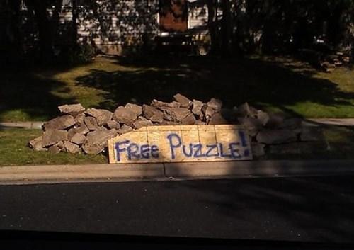 free stuff,funny,puzzle,trash